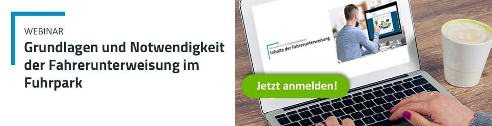 Banner Webinar zur Fahrerunterweisung - Grundlagen und Notwendigkeit